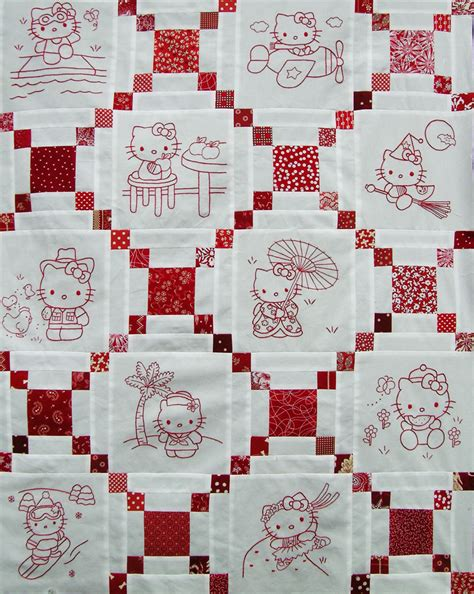hello kitty quilt hello kitty redwork quilt top q is for quilter