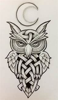 Celtic Moon and Owl Tattoo Designs