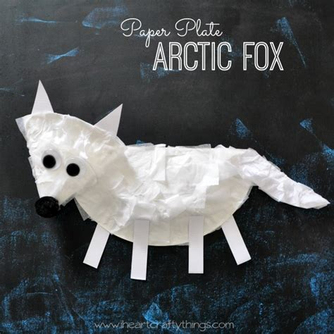 best winter animal crafts for 824   PaperPlateArcticFoxCraftSq