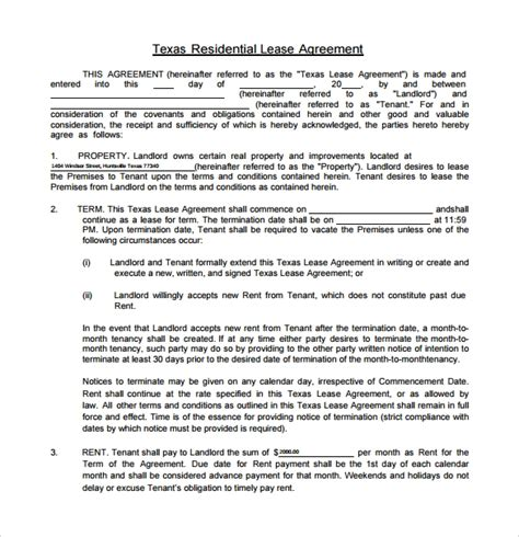 texas residential lease agreements samples examples