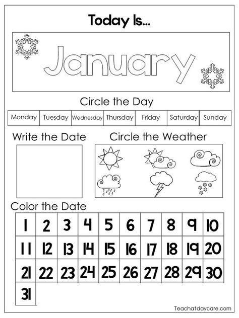 printable preschool calendar worksheet pages month