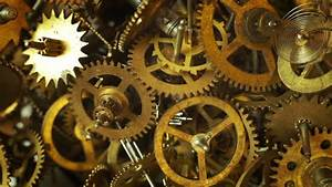 Industrial Video Background. Fantasy Golden Clockwork With ...