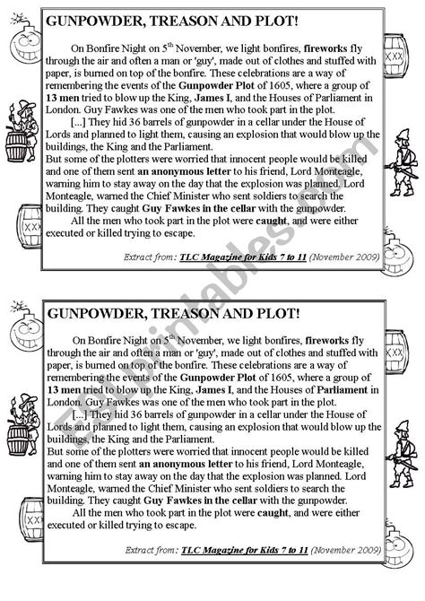 Text about Guy Fawkes´ Story - ESL worksheet by Ael0riah