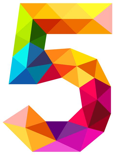 Colourful Triangles Number Five PNG Clipart Image