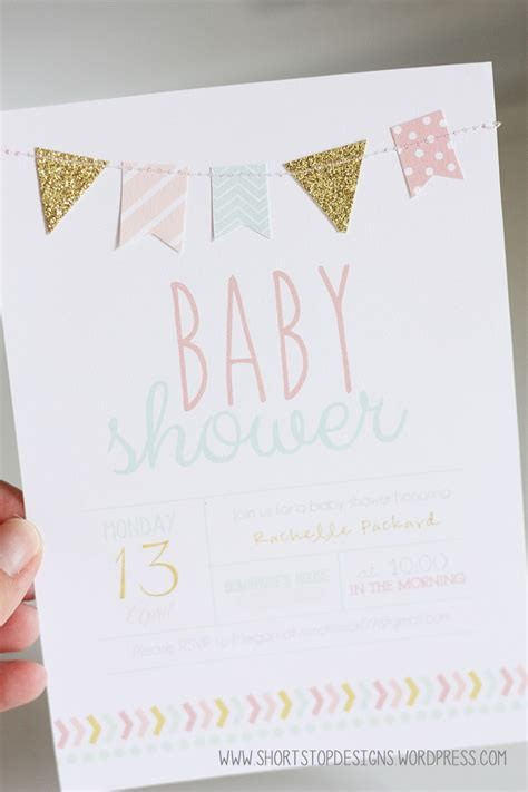 Baby Shower Invite Ideas - mint pink gold baby shower printables stop