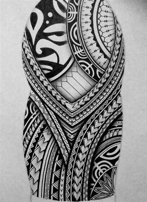 created  polynesian  sleeve tattoo design