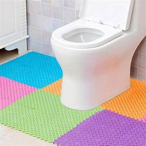 2pcs non slip toilet floor mats bathroom carpet plastic for Bathroom plastic carpet