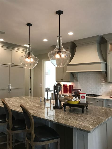Kitchen Island Pendant Lighting Fixtures by Two Large Kichler Everly Pendants Above Kitchen Island