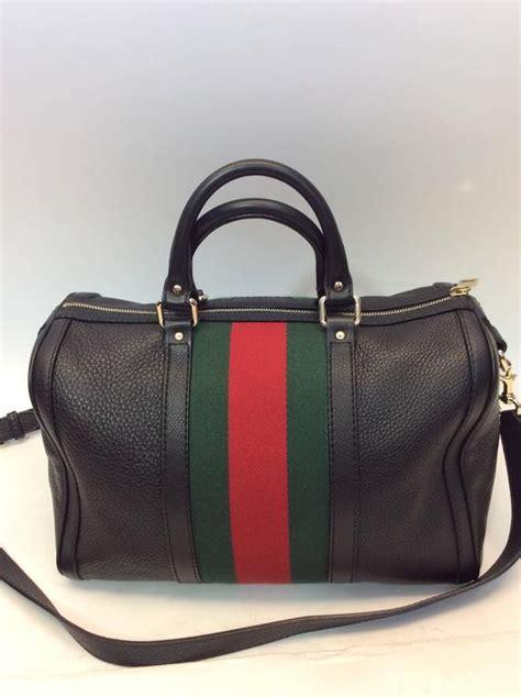 gucci black striped barrel bag  sale  stdibs