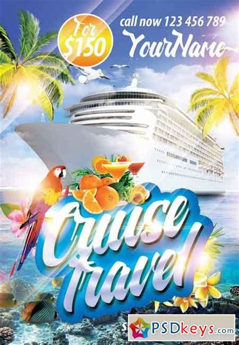 cruise travel psd flyer template facebook cover