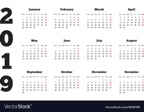 calendar year week starting vector image