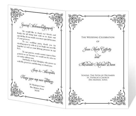 items similar  wedding program template printable