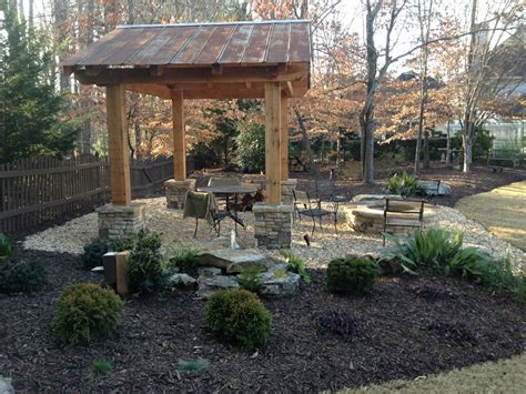 pit cazebo and gravel patio forsyth landscape