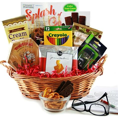 adult coloring book tasty snacks gift basket