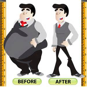 Before and After Weight Loss Cartoon Clip Art
