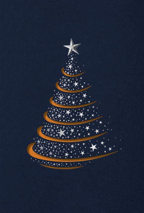 edle weihnachts grusskarte  blau mit stanzung baum und
