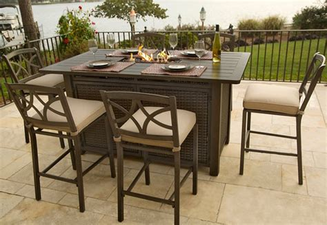 bar height patio table with pit firepit table simple outdoor greatroom boardwalk pit