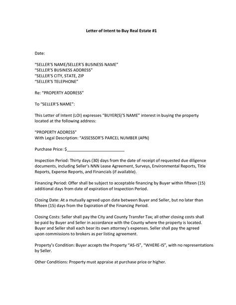 letter  intent property letter
