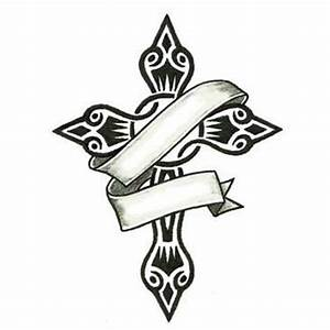 small tribal tattoos | Small Tribal Cross and Banner ...