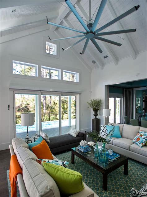 white living room  soaring ceilings  coastal decor