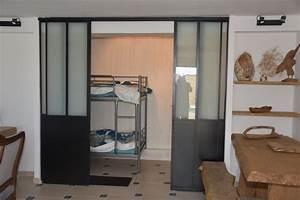 Porte Coulissante Verriere : verriere style atelier avec portes coulissantes ~ Carolinahurricanesstore.com Idées de Décoration