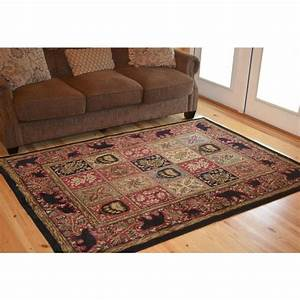 Lodge, Cabin, Forest, Rustic, Black, Bear, Paw, Red, Area, Rug, Free, Shipping