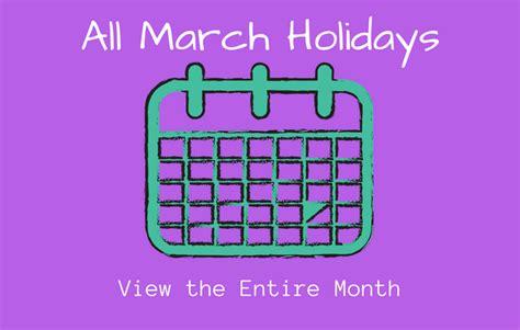 marchs special days calendar special days month