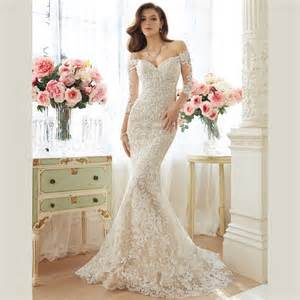 the shoulder wedding dress with lace sleeves aliexpress buy 2015 white lace wedding dresses shoulder sweep wedding