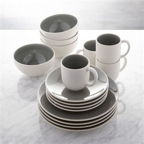 grey dinnerware jars tourron dinner piece crate plate sets barrel crateandbarrel plates mugs dishes kitchen bowls sold