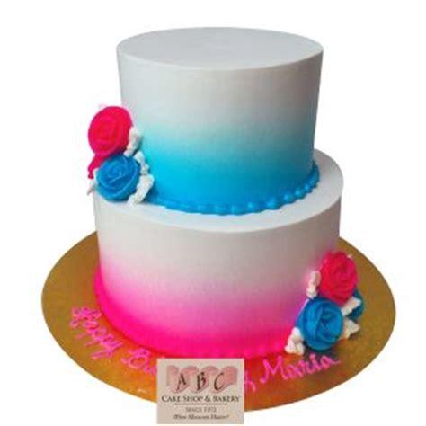 tier pink blue  birthday cake abc cake