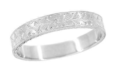 mens art deco vintage style engraved wheat wedding ring in platinum jewelry mall