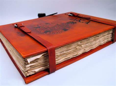hand  oversized custom leather hardcover book  lady