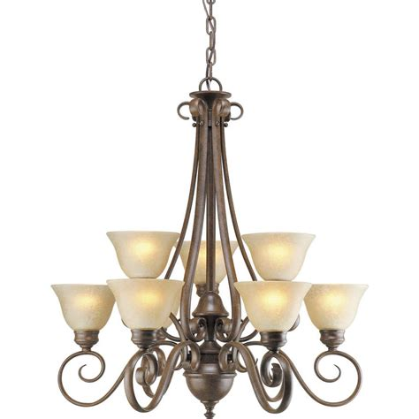chandeliers at lowes shop shandy 27 in 9 light chestnut tinted glass candle