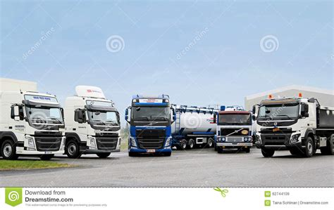 volvo transport truck line up of volvo trucks editorial stock image image