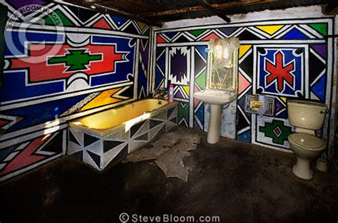 bathroom   traditionally decorated ndebele house south