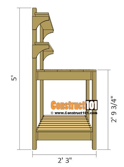 potting bench plans side view construct