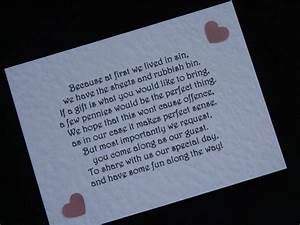 Handmade wedding gift money poems for wedding invitations for Inserts for wedding invitations about gifts
