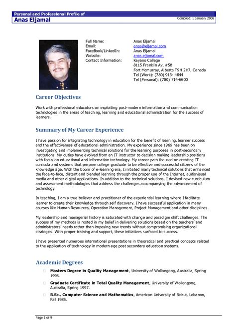 canadian resume format  planner template