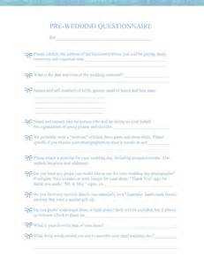 Wedding Photography Questionnaire Form