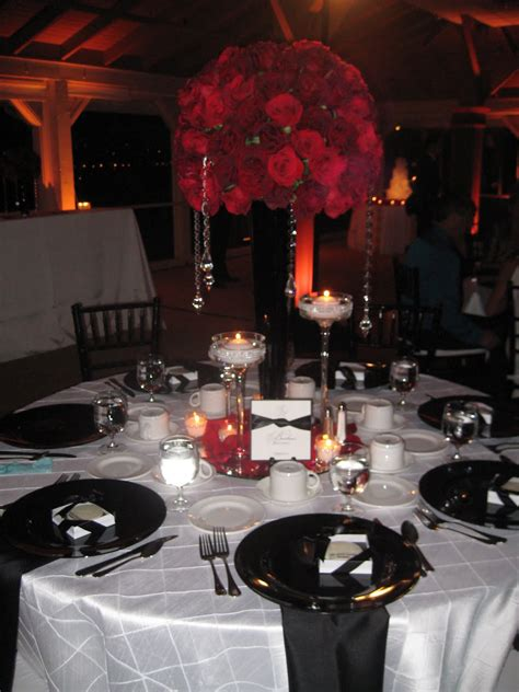 classic black and white wedding with red roses newport