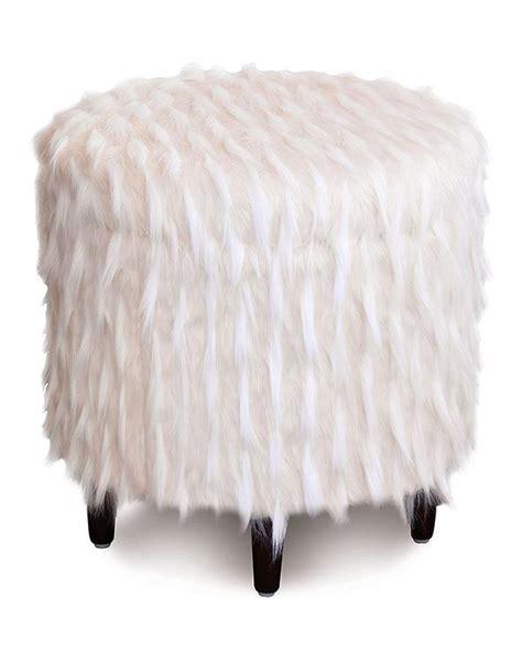 faux fur storage ottoman faux tibetan lamb white pouf