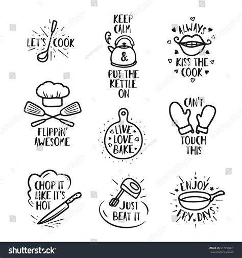 Kitchen Knives Quotes by Kitchen Quotes Set Phrases Stock Vector