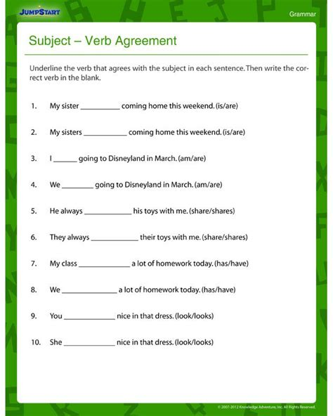 subject verb agreement fun and printable third grade grammar worksheet 3rd grade