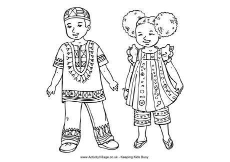 african children colouring page