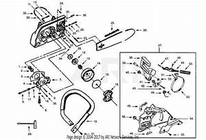 Poulan Pp365c Gas Saw  365c Gas Saw Parts Diagram For Handle  Chain  U0026 Bar