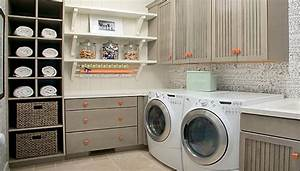 Amenagement Buanderie Photos Plans : eye catching laundry room shelving ideas ~ Mglfilm.com Idées de Décoration