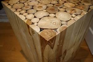 Unique, Vintage, Natural, Wood, Block, Side, Table, Wood, Cuts, Alder