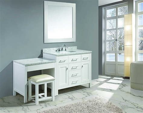 bathroom vanity with sink and makeup area single sink vanity with makeup area in white finish