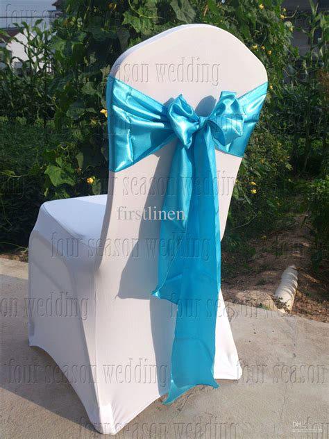 sky blue satin chair sash bow ribbon wedding party banquet decoration elegant chair covers