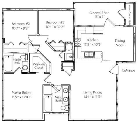 3 Bedroom 3 Bath Floor Plans by 3 Bedroom 2 Bath Floor Plans Marceladick